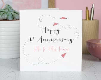 First Wedding Anniversary Card   Personalised   Paper Planes   Paper Anniversary   1st Anniversary