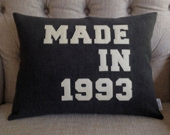 MADE IN CUSHION  pillow personalised  date   birthday  birth  baby