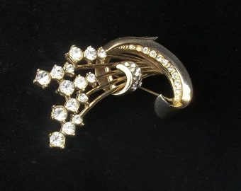 Vintage Rhinestone Flower Spray 1940's Old Hollywood Glamour Retro Costume Jewelry Brooch Pin Gift For Her Best Deal