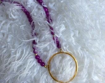 Purple necklace, gold necklace, fun necklace, circle necklace