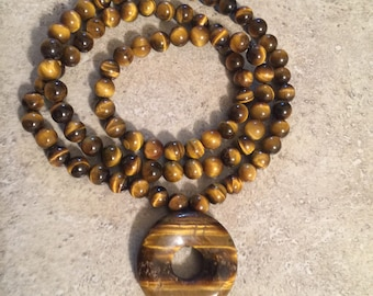Tiger Eye Fortune Donut Pendant Necklace
