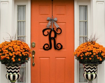 Metal Monogram Wreath Alternative - Door Wreath - Large Monogram Wreath - Dorm Decor