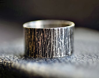 Wide Band Ring Sterling Silver Ring Textured Ring Band Rustic Tree Bark Ring Unisex Custom Sized Gift For Him Engagement Ring Wedding Ring