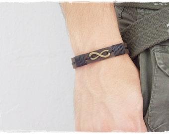 Men's Infinity Bracelet, Men's Leather Bracelet, Leather Anniversary Bracelet, Eternity Symbol Bracelet, 3rd Anniversary Leather Wristband