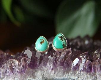 Turquoise Teardrop Sterling Silver Stud Earrings