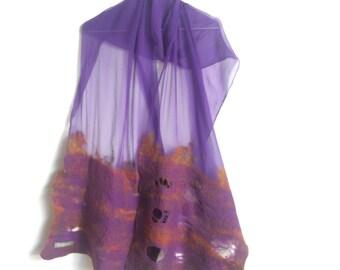 nuno scarf chal de seda y lana morada