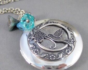 Aquamarine Hummingbird,Locket,Silver Locket,Flower,Bird,Blue,Aquamarine,Antique Locket,Floral,Jewelry,Blue Locket,Aqua Bl,valleygirldesigns.