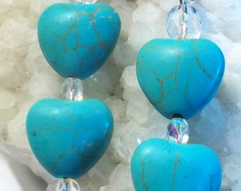 Heart Earrings.Heart Shaped Turquoise And Czech Crystal Beads.