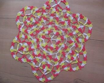 Sale 50%  20.00USD- 10.00USD Hand crocheted multicolor cotton  doily