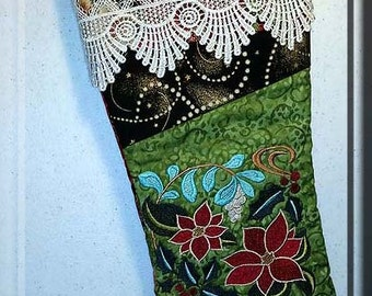 Elegant, Victorian, Embroidered, Christmas, Stocking, Christmas Stocking, gold metallic fabric, victorian lace, Poinsettias,