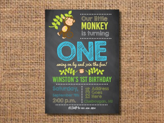 Monkey Birthday Invitation First Birthday Boy Invitation