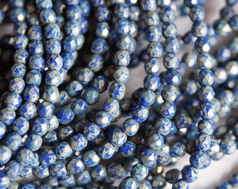 4mm Dark Blue Picasso Fire Polished Beads - Opaque Blue Picasso Fire Polished - Picasso Finish - Czech Glass Beads - Bead Soup Beads