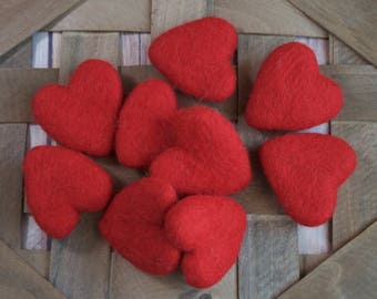 Red Felted Wool Hearts 4 - 5 cm, Wool Felt Heart beads, Red Wool Hearts, Valentines Crafts, Cat toy, Needle Felted Hearts, Heart Garland