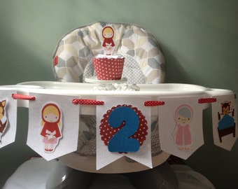 Little Red Riding Hood and Wolf 1st or 2nd Birthday Party Highchair Banner