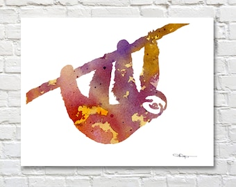 Sloth Art Print - Abstract Watercolor Painting - Animal Art - Wall Decor