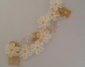 Gold Bridal Hair, Flower Hair Vine, Leaf Hair Vine
