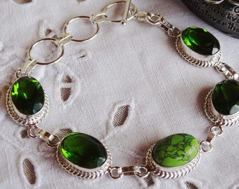 Peridot - turquoise - solid 925 sterling silver bracelet Kit - party gift idea