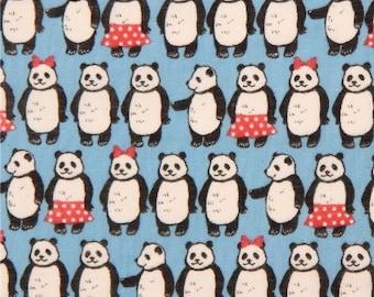 KOKKA - Double gauze blue with Pandas in skirts