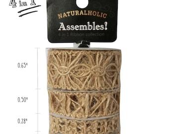 4 in 1 Trim Mix Jute Crochet Ribbon 1 Yard x 4, Wedding deco Ribbon, Scrapbooking & Bookbinding Ribbon