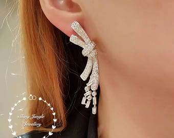 Diamond bow statement earrings, drop earrings, bridal earrings, dressy earrings, event earrings, tie the knot