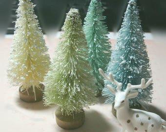 "4 pcs bottle brush trees 3"" blues+greens vintage shabby cottage inspired"