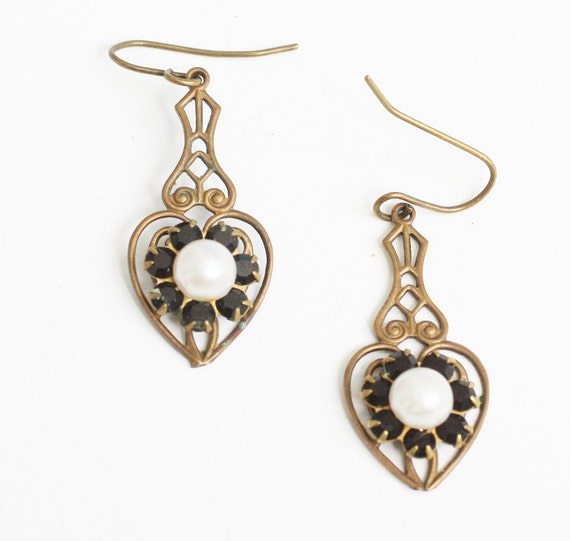 Filigree Heart Dangle Earrings Faux Pearls and Garnets Victorian Revival Vintage