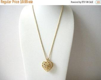 ON SALE Vintage AVON Gold Tone Filigree Rhinestone Inalys Puff Hearts Necklace 70816D
