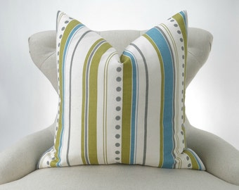 Blue Green Stripe Pillow Cover -MANY SIZES- Citrine Gray Dot Brook Summerland Premier Prints - decorative cushion throw couch euro sham