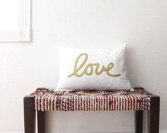 Metallic Love Throw Pillow / Lumbar Love Pillow Hand Lettered Cursive Love Pillow Gold Love Pillow / love / pillow / gold / copper / silver