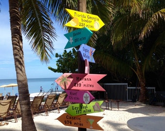 CUSTOM PERSONALIZED SIGNS, Set of 8 wood signs with art work, Beach Signs, Directional Signs, Arrows,  Yard Art