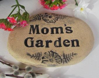 Mom's garden stone marker. Mom's Garden sign. Rustic outdoor decoration for flowers herbs veggies. Handmade terracotta art tile. Rock shape