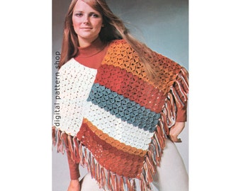 1970s Vintage Crochet Poncho Pattern Womens Easy Shell Stitch Poncho Crochet Pattern PDF Instant Download - C128