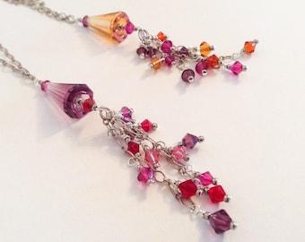Pink Orange Purple Red Multicolored Swarovski Crystal Tassel Silver Chain Statement Necklace--The Tassel II---by Lady Grey Beads