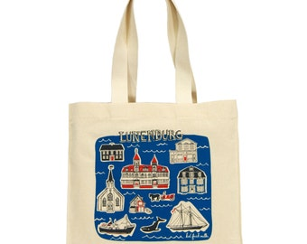 Lunenburg Tote Bag - Cotton Canvas Gusseted Market Bag with Screenprint of Nova Scotia