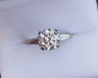 Custom Classic Three Stone Tapered BAGUETTE Engagement Ring