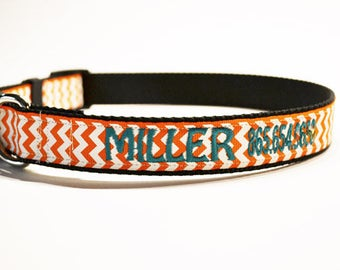 """Personalized Dog Collar- 1"""" wide - Orange Chevron - Pet Supplies - Made to order"""