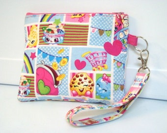 Shopkins Toy Pouch OR Troll Pouch Zipper Purse, Crayon Holder, Coin Pouch Purse with Detachable Handle