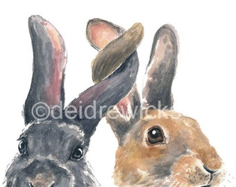 Rabbit Watercolor PRINT - Rabbit Illustration, Bunny Painting, Bunny Rabbit, Nursery Art, Watercolour Painting