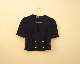 Vintage Crop Double Breasted Breasted Blazer Jacket *Flat Rate Shipping* [Cute Vintage Sportscoat Coat Officewear Women's Size Small]