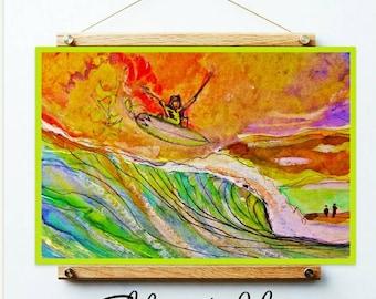 Surfer flyin , Surfing Prints , Surfing watercolour ,  drawing surf,  children's decor, surfing decal, wave art,  Original