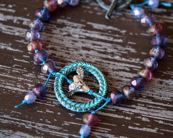 Unlisted - Winged Heart Bracelet - Heart With Wings - Knotted Bracelet - Purple Bracelet - Turquoise and Purple boho - Bead Soup