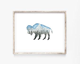 """Teton Bison 8x10"""" Art Print"""