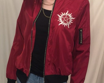 Supernatural Bomber Jacket Red Winchester Anti-Possession Embroidery S-3XL Sam Dean Coat