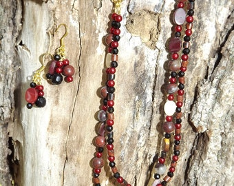 Beaded red necklace and earring set