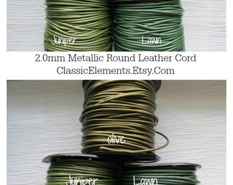 Choose Color 2mm Metallic Leather Cord, Round Leather Cord, Metallic leather , Leather Cord, 2.0mm leather cord, 2mm Leather Cord