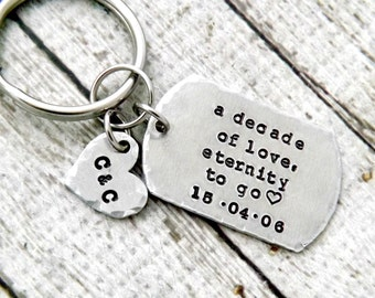 anniversary keychain-10 year anniversary gift-tenth anniversary gift-personalized anniversary keychain-a decade of love, eternity to go