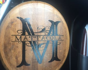 Monogramed bourbon barrel top
