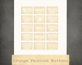 GRUNGE FACEBOOK BUTTONS - Beige, Facebook Tabs, Social Media Icons for Facebook Business page