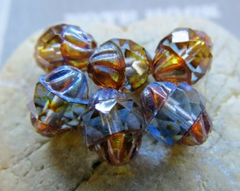 BACK In Stock Soft SAPPHIRE TURBINES . Czech Picasso Glass Beads . 10 by 8 mm (10 beads)
