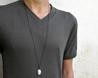 Tiny Oval Locket Necklace Pendant, Mens  Simple Locket Necklace  Antique Long Necklace Keepsake Necklace